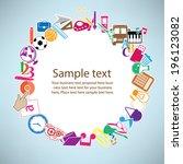 back to school on paper... | Shutterstock .eps vector #196123082