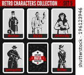 Retro vintage people collection. Mafia noir style. Doctor, Boss, Lady Dog, Gangster, Killer.  Professions silhouettes.