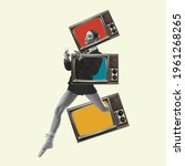 Small photo of Beautiful woman in casual running throught TV boxes on yellow background. Copy space for ad, text. Modern design. Conceptual, contemporary bright artcollage. Retro styled, surrealism, fashionable.