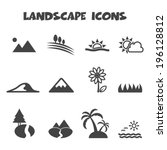 landscape icons  mono vector... | Shutterstock .eps vector #196128812