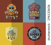 colorful flat summer holiday... | Shutterstock .eps vector #196133636