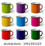 Colorful Enameled Mugs On White ...