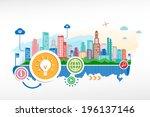 light bulb and cityscape... | Shutterstock .eps vector #196137146