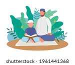 muslim father teach his son... | Shutterstock .eps vector #1961441368