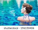 young beautiful woman relaxing...   Shutterstock . vector #196150406