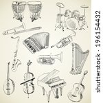 hand drawn set of classical... | Shutterstock .eps vector #196154432