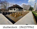 The marble pavilion at Shalimar Bagh (Shalimar Garden) in Srinagar, Kashmir, India.  It was the guest house for European visitors during the rule of Maharaja Ranjit Singh.