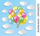 multicolored glossy balloons... | Shutterstock . vector #196166252