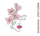 minimal woman face on white...   Shutterstock .eps vector #1961712868