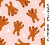 cute brown teddy bear seamless...   Shutterstock .eps vector #1961816005