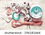 aroma spa set on white wooden...   Shutterstock . vector #196181666