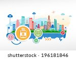 vial of medicine and cityscape... | Shutterstock .eps vector #196181846