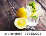lemonade with fresh lemon on... | Shutterstock . vector #196182026