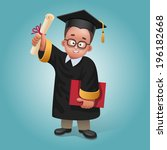 illustration of happy graduate... | Shutterstock .eps vector #196182668