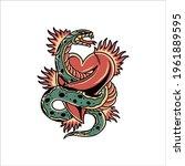 snake tattoo illustration...   Shutterstock .eps vector #1961889595