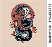 snake tattoo illustration...   Shutterstock .eps vector #1961889598