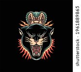 panther and snake tattoo vector ...   Shutterstock .eps vector #1961889865