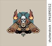 skull moth tattoo vector design   Shutterstock .eps vector #1961890312