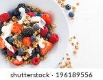 fresh berries  yogurt and... | Shutterstock . vector #196189556