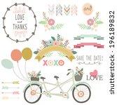 wedding flora vintage bicycles... | Shutterstock .eps vector #196189832