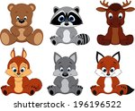 vector set cute colorful exotic ... | Shutterstock .eps vector #196196522