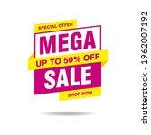 simple flat mega sale banner...   Shutterstock .eps vector #1962007192
