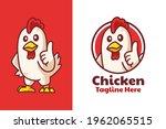 chicken thumbs up mascot logo... | Shutterstock .eps vector #1962065515