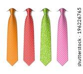 polka and pin dots silk ties... | Shutterstock .eps vector #196226765