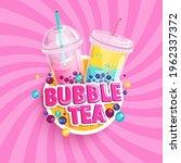 bubble tea banner on sweet...   Shutterstock .eps vector #1962337372