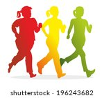 silhouettes of female runners... | Shutterstock . vector #196243682