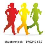 silhouettes of female runners... | Shutterstock . vector #196243682