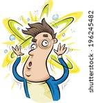a dizzy man with his confused... | Shutterstock .eps vector #196245482