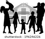 family silhouettes | Shutterstock .eps vector #196246226