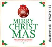 christmas greeting card. merry... | Shutterstock .eps vector #196246466