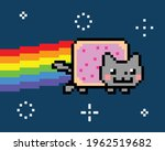 space cat creating rainbow... | Shutterstock .eps vector #1962519682