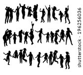 silhouette of jumping people. | Shutterstock .eps vector #196256036