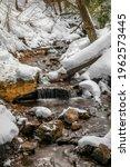 Scenic small water falls near Munising in Michigan upper peninsula