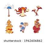 beautiful fantasy mushrooms set.... | Shutterstock .eps vector #1962606862