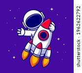 astronaut riding rocket cartoon ... | Shutterstock .eps vector #1962622792