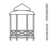 Gazebo Wooden Vector Outline...