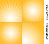 Set of orange shiny backgrounds for design. Different burst sources - center, corner, bottom.