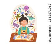 sweet girl sitting at desk with ... | Shutterstock .eps vector #1962671062