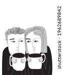 cute couple drinking coffee... | Shutterstock .eps vector #1962689842