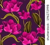 seamless tulip vintage pattern... | Shutterstock . vector #196272998