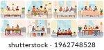 set scenes of people having... | Shutterstock .eps vector #1962748528
