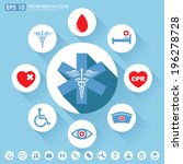 medical vector icon set on... | Shutterstock .eps vector #196278728
