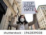 Asian Woman Holding Stop Asian...