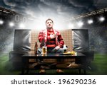 happy soccer or football fan... | Shutterstock . vector #196290236