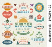 summer design elements and... | Shutterstock .eps vector #196296422