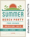 retro summer party design... | Shutterstock .eps vector #196296776
